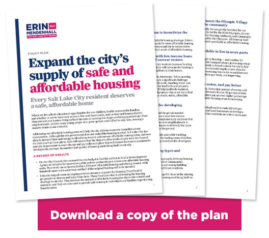 Image of pages of Erin Mendenhall's housing plan with the words DOWNLOAD A COPY OF THE PLAN