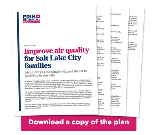 Image of pages of Erin Mendenhall's air quality plan with the words DOWNLOAD A COPY OF THE PLAN